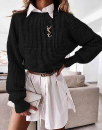 Дамски свободен пуловер в черно - код 4180