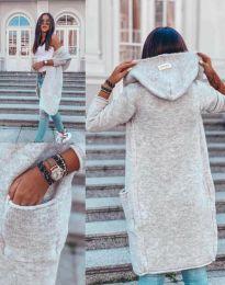 Дълга плетена жилетка с качулка в сиво - код 6263