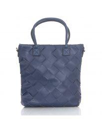 Дамска чанта в тъмно синьо с ефект преплетена кожа - код LS594