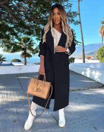 Дълго дамско палто с копчета в черно - код 3854