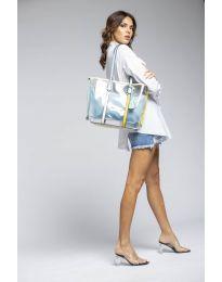 Дамска чанта в синьо с прозрачна външна част - код LS542