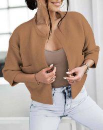 Къса плетена дамска жилетка в кафяво - код 4695