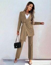 Дамски комплект сако с колан и панталон в цвят капучино - код 0477