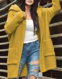 Дамска свободна жилетка с качулка в цвят горчица - код 9066