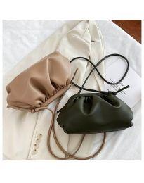 Дамска чанта в масленозелено изчистен модел с набори - код B13