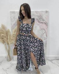 Дамски комплект къс топ и дълга пола с флорален десен - код 6959 - 1