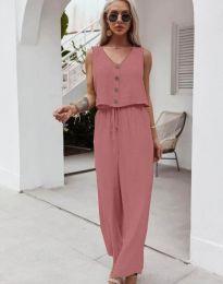 Свободен дамски комплект потник и панталон в цвят пудра - код 6929