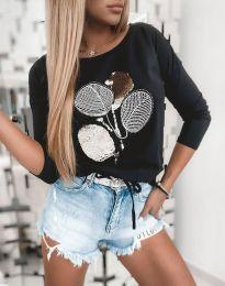 Атрактивна дамска блуза с щампа с пайети в черно - код 4607