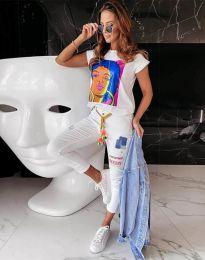 Дамска тениска в бяло с анимация - код 11818
