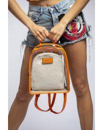 Дамска раница в оранжево с прозрачна външна част - код LS570