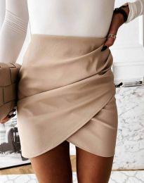 Дамска къса пола с висока талия в бежово - код 4906