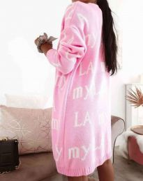 Ефектна дълга плетена дамска жилетка в розово - код 2369