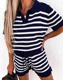 Дамски комплект тениска и къси панталонки в черно райе - код 4577