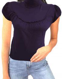 Дамска блуза в тъмнолилаво с къс ръкав и поло яка - код 0216