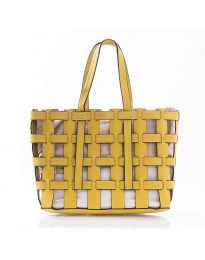 Дамска чанта в цвят жълто преплетена тип кошница - код LS563