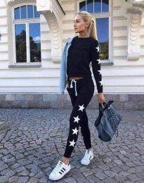 Спортен дамски комплект блуза с дълъг ръкав и долнище с висока талия в черно - код 3555