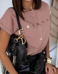 Дамска тениска в цвят пудра с надпис - код 4318