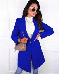 Дамско дълго палто с колан в синьо - код 4704