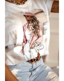 Дамска тениска в бяло с принт - код 4147