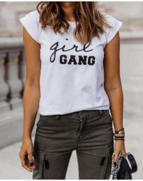 Тениска в бяло с черен надпис в предната част - код 918