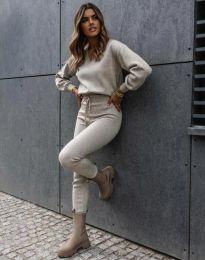 Дамски комплект блуза с дълъг ръкав и панталон в бежово - код 01122