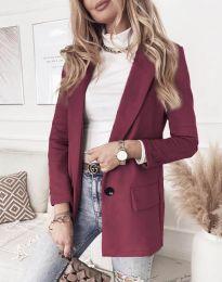 Елегантно дамско палто в цвят бордо - код 1345