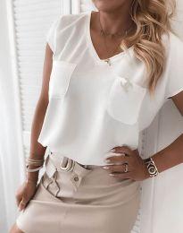 Атрактивна дамска блуза в бяло - код 6306