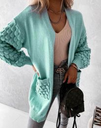 Модерна дълга свободна плетена жилетка в цвят мента - код 0785