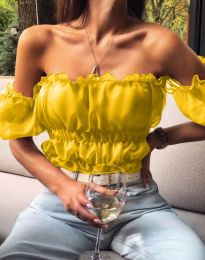 Дамска къса блуза с голи рамене в жълто - код 5615