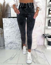 Модерни вталену дамски дънки с висока талия в цвят графит - код 4782