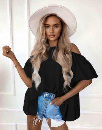 Атрактивна елегантна свободна дамска блуза с паднали рамене в черно - код 0157