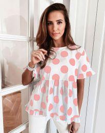 Атрактивна дамска блуза с розови мотиви - код 6181