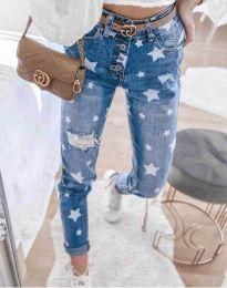 Атрактивни сини дънки с висока талия със звездички - код 81088
