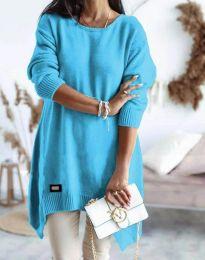 Дамска плетена туника в синьо - код 4074
