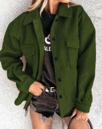 Дамско свободно късо палто в масленозелено - код 4984