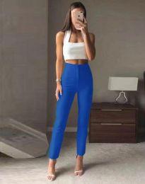 Елегантен дамски панталон с висока талия в синьо - код 3128