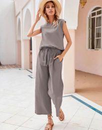 Дамски комплект потник и панталон в сиво - код 0881