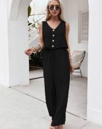 Свободен дамски комплект потник и панталон в черно - код 6929