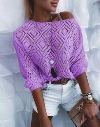 Дамска блуза от плетиво с голо рамо в лилаво - код 4701