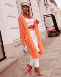 Атрактивна дълга едра плетка дамска жилетка в оранжево - код 4811