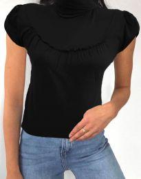Дамска блуза в черно с къс ръкав и поло яка - код 0216