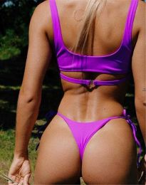 Дамски бански костюм с връзки в две части в лилаво - код 9083