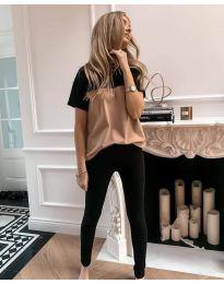 Дамски комплект тениска и панталон в черно - код 5758