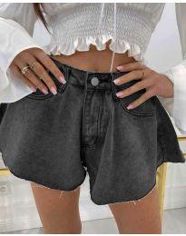 Къси дънкови панталонки в черно - код 3880