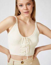 Атрактивен дамски топ плетиво в бяло - код 9909