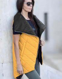 Дамски асиметричен дълъг елек грейка и висока яка в цвят горчица - код 0422