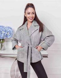 Късо дамско палто с колан в сиво - код 0121