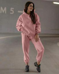 Спортен свободен дамски комплект долнище и суичър с качулка в цвят пудра - код 0827