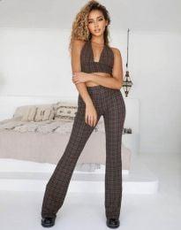 Дамски сет къс топ и панталон с атрактивен десен - код 5509