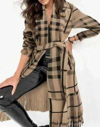 Ефектно дълго дамско палто с ресни и колан в бежово и черно каре - код 2891 - 3